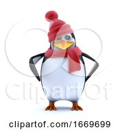 3d Cute Winter Penguin In Wool Hat And Scarf