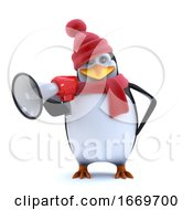 3d Winter Penguin Using A Megaphone