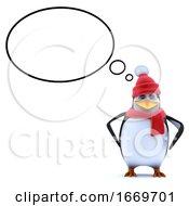3d Cute Winter Penguin Has An Idea