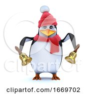 3d Winter Penguin Rings His Brass Bells
