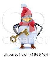 3d Winter Penguin Has A Gold Key