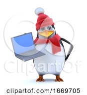 3d Winter Penguin Has A New Laptop Pc To Show You