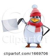 3d Winter Penguin Posts A Letter