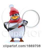 3d Winter Penguin Magnifies The Situation