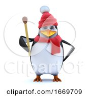 3d Winter Penguin Holds A Match To It