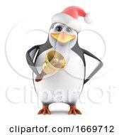 3d Santa Penguin Rings His Bell