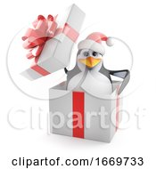3d Xmas Penguin In The Box