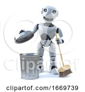 3d Robot Cleans Up The Mess With His Broom And Bin