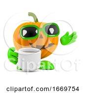 Poster, Art Print Of 3d Pumpkin Man Has A Coffee Break