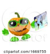 3d Pumpkin Man Pays By Credit Card
