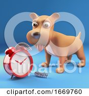 Poster, Art Print Of 3d Cartoon Puppy Dog Has Broken An Alarm Clock 3d Illustration