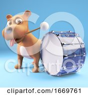 Poster, Art Print Of 3d Cartoon Puppy Dog Hitting A Bass Drum With A Drumstick 3d Illustration
