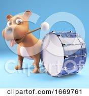 3d Cartoon Puppy Dog Hitting A Bass Drum With A Drumstick 3d Illustration