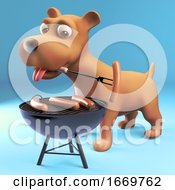 Poster, Art Print Of 3d Cartoon Puppy Dog Cooking Sausages On A Barbecue Bbq 3d Illustration