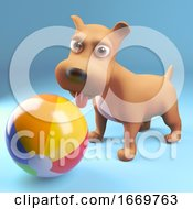 Poster, Art Print Of 3d Cartoon Puppy Dog Playing With A Beach Ball 3d Illustration