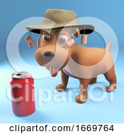 Poster, Art Print Of 3d Puppy Dog Characte Wearing Australian Bush Hat Looking At A Soda Can Drink 3d Illustration
