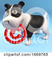 Poster, Art Print Of 3d Cute Puppy Dog Holding A Copyright Symbol In His Muzzle 3d Illustration
