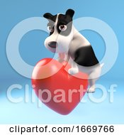 Poster, Art Print Of 3d Naughty Puppy Dog Climbs On A Red Heart Of Love 3d Illustration