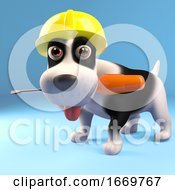 Poster, Art Print Of 3d Cartoon Puppy Dog Wearing A Construction Safety Helmet Holding A Screwdriver In His Mouth 3d Illustration