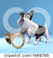 Poster, Art Print Of 3d Funny Puppy Dog Playing With An Old Car Horn 3d Illustration