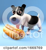 Poster, Art Print Of 3d Cartoon Puppy Dog Eating A Hot Dog 3d Illustration