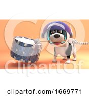 3d Cartoon Puppy Dog In Spacesuit On Mars Playing A Drum 3d Illustration