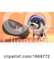 Poster, Art Print Of 3d Puppy Dog In Spacesuit On Mars Standing Next To A Nuclear Bomb 3d Illustration