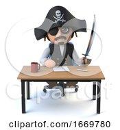 3d Pirate Captain Sits At His Desk