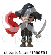 3d Pirate Captain Holds US Dollar Currency Symbol