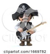 3d Cute Pirate Captain Character Plays Electric Guitar