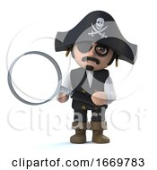 3d Cute Pirate Captain Character Holding A Magnifying Glass