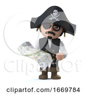 3d Crazy Cartoon Pirate Captain Checks His Map