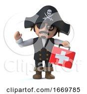 3d Crazy Cartoon Pirate Captain Has A First Aid Kit