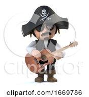 3d Cute Pirate Captain Plays Acoustic Guitar