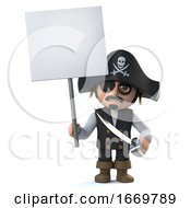 3d Cute Cartoon Pirate Captain Character Holds Up A Blank Placard