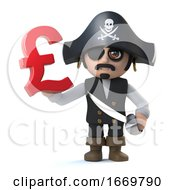 3d Pirate Captain Holds UK Pounds Sterling Currency