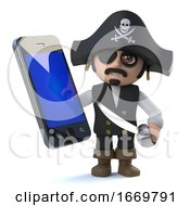 3d Funny Pirate Captain Character Has A New Smartphone Tablet Device