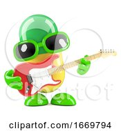 Poster, Art Print Of 3d Pill Playing An Electric Guitar