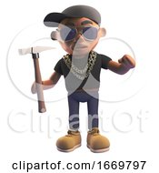 3d Cartoon Black Hiphop Rapper Character In Baseball Cap Holding A Hammer 3d Illustration