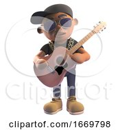Poster, Art Print Of Cartoon 3d Black Hiphop Rapper In Baseball Cap Playing An Acoustic Guitar 3d Illustration