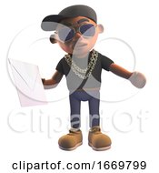 Poster, Art Print Of 3d Black Cartoon Hiphop Rapper Character In Baseball Cap Holding An Envelope Mail 3d Illustration