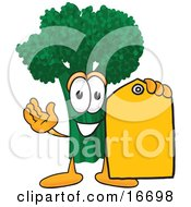Green Broccoli Food Mascot Cartoon Character Holding A Yellow Sales Price Tag