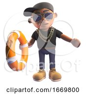 Black 3d Cartoon Hiphop Rapper In Baseball Cap Offering A Lifering Life Preserver To Someone Drowning 3d Illustration