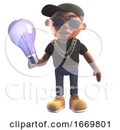3d Cartoon Black Hiphop Rapper In Baseball Cap Holding An Incandescent Lightbulb 3d Illustration
