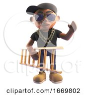 Cartoon 3d Black Hiphop Rapper Character In Baseball Cap Carrying A Ladder Under His Arm 3d Illustration