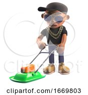 Cartoon 3d Black Hiphop Rapper Character In Baseball Cap Mowing The Lawn With A Lawnmower 3d Illustration