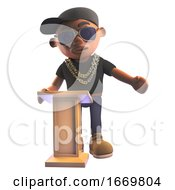 3d Cartoon Black Hiphop Rap Artist Character In Baseball Cap Teaches At The Lectern 3d Illustration