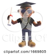 Cartoon 3d Black Hiphop Rapper Wearing Graduation Mortar Board And Holding A Diploma Scroll 3d Illustration