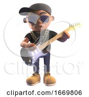 Poster, Art Print Of 3d Black Hiphop Rapper In Baseball Cap Playing Electric Guitar 3d Illustration