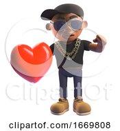 Poster, Art Print Of Cartoon 3d Black Hiphop Rapper Holding A Romantic Red Heart 3d Illustration